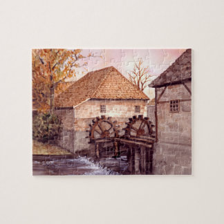 Watermill Watercolor Painting by Farida Greenfield Jigsaw Puzzle