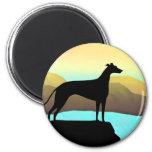 Waterside Greyhound Dog Landscape Fridge Magnets