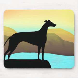 Waterside Greyhound Dog Landscape Mouse Pad