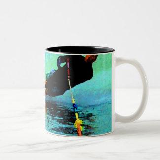 waterski slalom course, oh, buoy! Two-Tone coffee mug