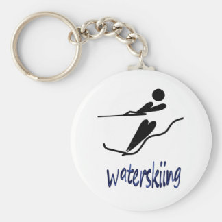 Waterskiing - Waterskiing universal symbol design Basic Round Button Keychain