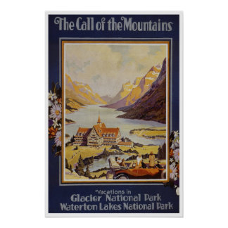 Waterton lakes Canada Vintage Travel Poster