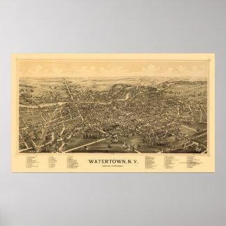 Watertown, NY Panoramic Map - 1891 Poster