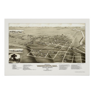 Watertown, SD Panoramic Map - 1883 Poster