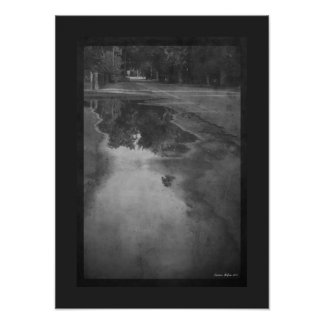 Watery Reflections Black & White Rainy Road Poster