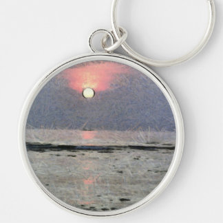 Watery sunset Silver-Colored round keychain