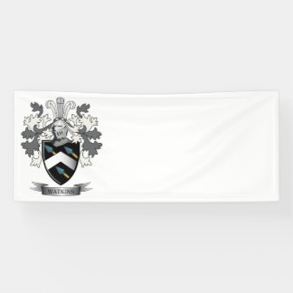 Watkins Family Crest Coat of Arms Banner