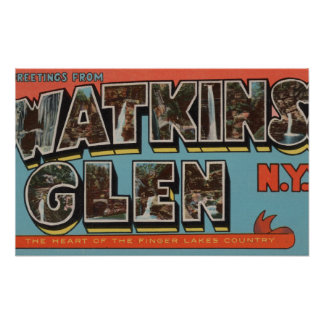 Watkins Glen, New York - Large Letter Scenes Poster