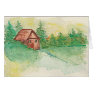 Watrecolor Cabin In The Woods Note Card