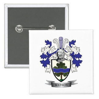 Watson Family Crest Coat of Arms 2 Inch Square Button