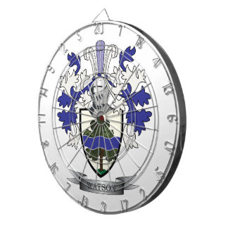Watson Family Crest Coat of Arms Dartboard