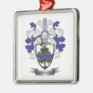 Watson Family Crest Coat of Arms Silver-Colored Square Ornament