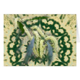 Wattle on green kaleidoscope horizontal postcard
