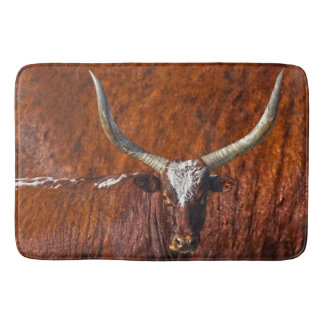 Watusi Blues in Rustic Red Bath Mat Retro Bull
