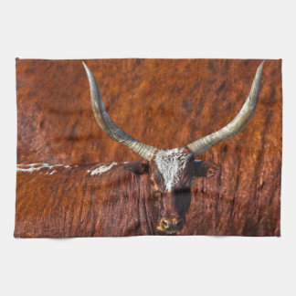 Watusi Blues in Rustic Red Kitchen Towel Bull