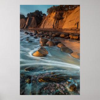 Wave along the beach, California Poster