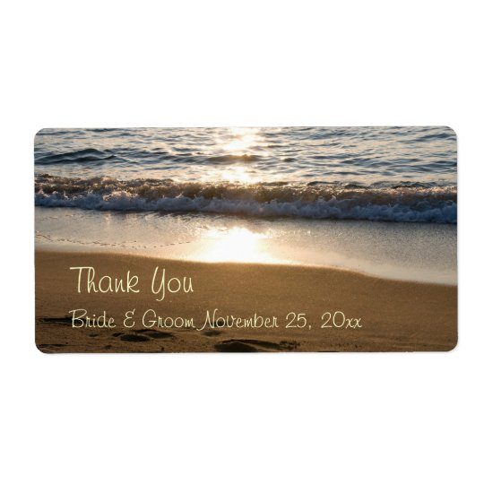 Wave at Sunset Wedding Labels