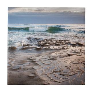 Wave breaking on beach, California Tile