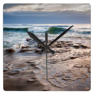 Wave breaking on beach, California Wall Clock