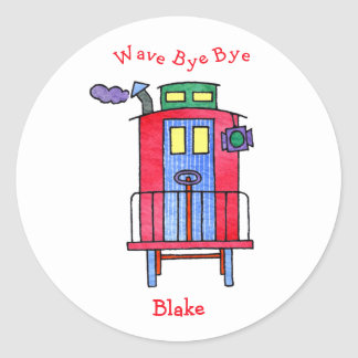 wave bye-bye Caboose Classic Round Sticker