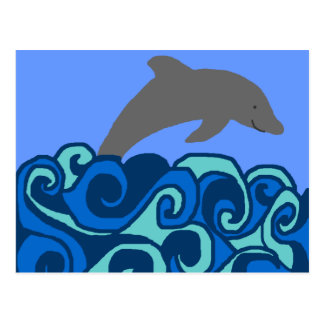 Wave curl dolphin post card