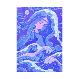 Wave, Mermaid, Fantasy Art Asian Girl, Blue & Pink Canvas Print
