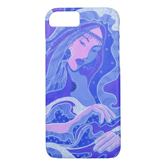 Wave, Mermaid, Fantasy Art Asian Girl, Blue & Pink iPhone 8/7 Case