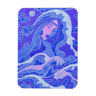 Wave, Mermaid, Fantasy Art Asian Girl, Blue & Pink Magnet