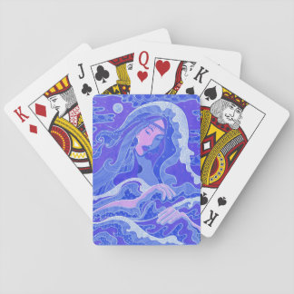 Wave, Mermaid, Fantasy Art Asian Girl, Blue & Pink Playing Cards