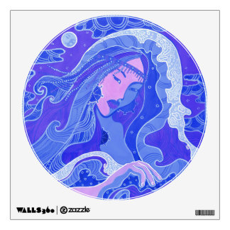 Wave, Mermaid, Fantasy Art Asian Girl, Blue & Pink Wall Decal