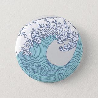 Wave Ocean Surf Art Print Asian Japanese 2 Inch Round Button