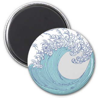 Wave Ocean Surf Art Print Asian Japanese 2 Inch Round Magnet