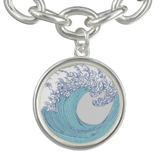 Wave Ocean Surf Art Print Asian Japanese Charm Bracelet