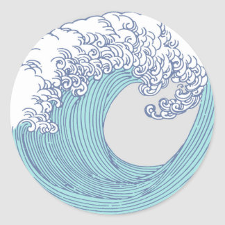 Wave Ocean Surf Art Print Asian Japanese Classic Round Sticker