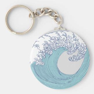 Wave Ocean Surf Art Print Asian Japanese Keychain