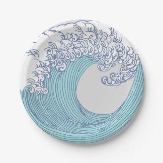 Wave Ocean Surf Art Print Asian Japanese Paper Plate