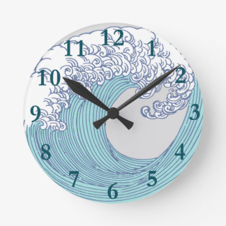 Wave Ocean Surf Art Print Asian Japanese Round Clock
