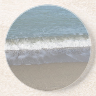 Wave of the sea on the sand beach drink coaster
