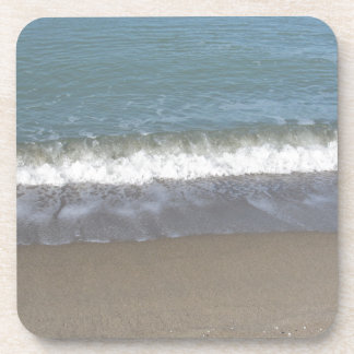 Wave of the sea on the sand beach drink coasters