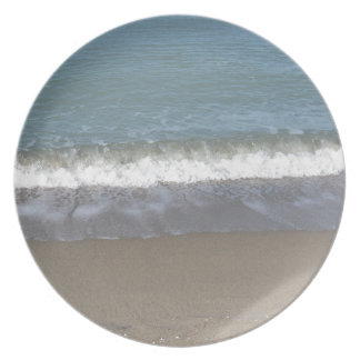 Wave of the sea on the sand beach plate