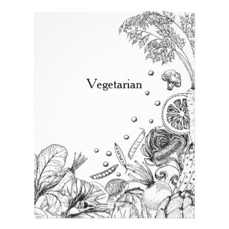 Wave of Veggies Black - Recipe Category Letterhead