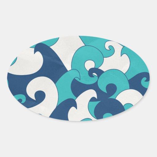 Wave Oval Sticker