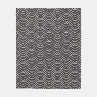 Wave Pattern Charcoal Gray and Taupe Fleece Blanket