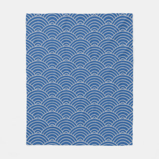 Wave Pattern China Blue and Taupe Fleece Blanket