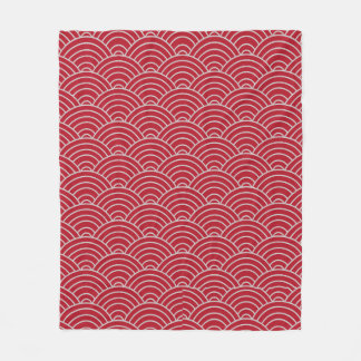 Wave Pattern Crimson Red and Taupe Fleece Blanket
