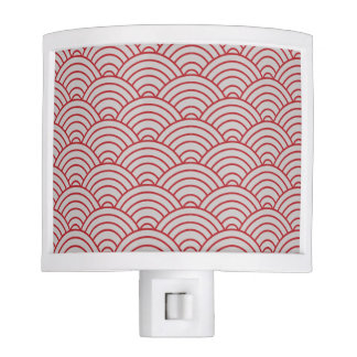 Wave Pattern Crimson Red Night Lights