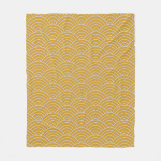 Wave Pattern Hot Mustard and Taupe Fleece Blanket