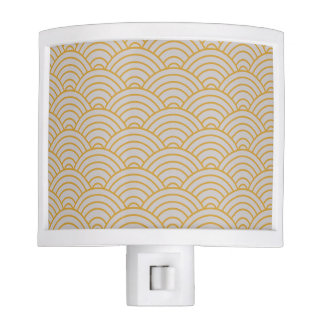 Wave Pattern Hot Mustard and Taupe Night Lights