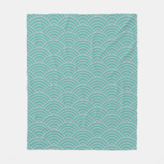 Wave Pattern Seaglass and Taupe Fleece Blanket