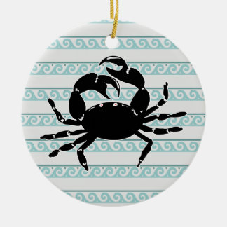 Wave Pattern Silhouette of Crab Round Ceramic Ornament